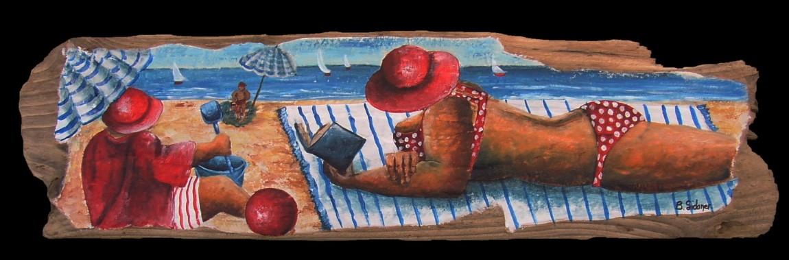Lecture à la plage 50x28